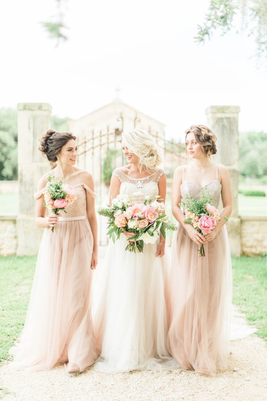ethereal blush bridesmaid dresses