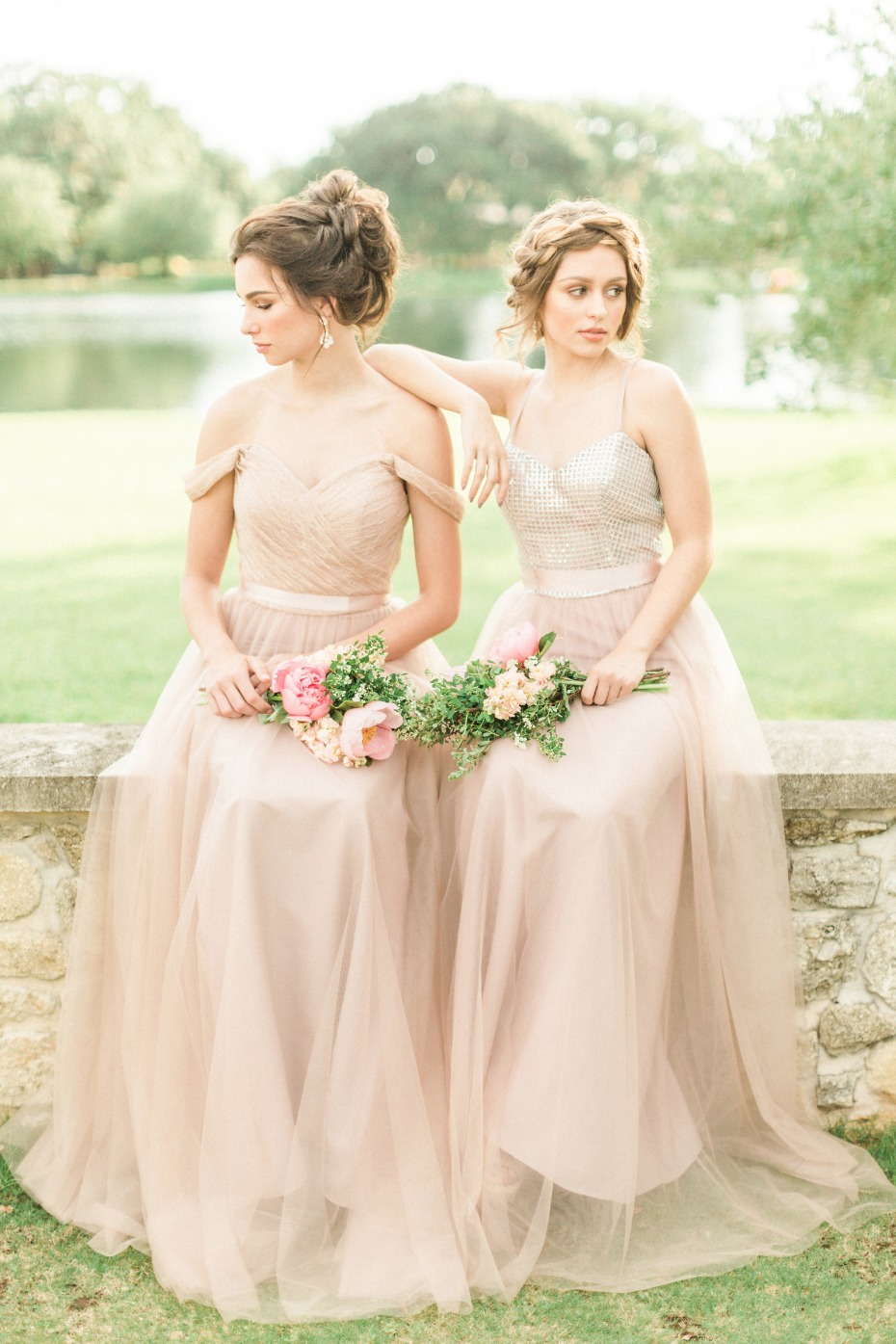 soft blush bridesmaid dresses