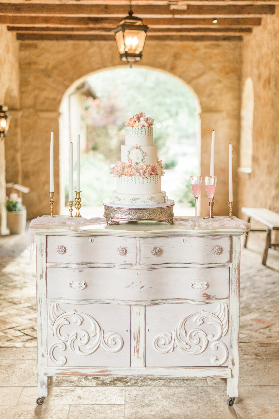 vintage wedding cake table dresser