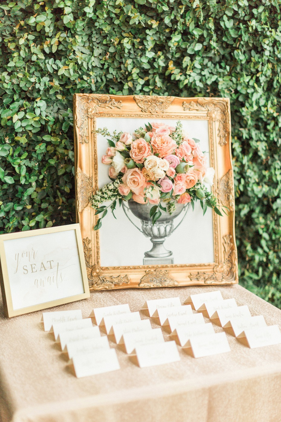 live floral wedding portrait for your escort card table