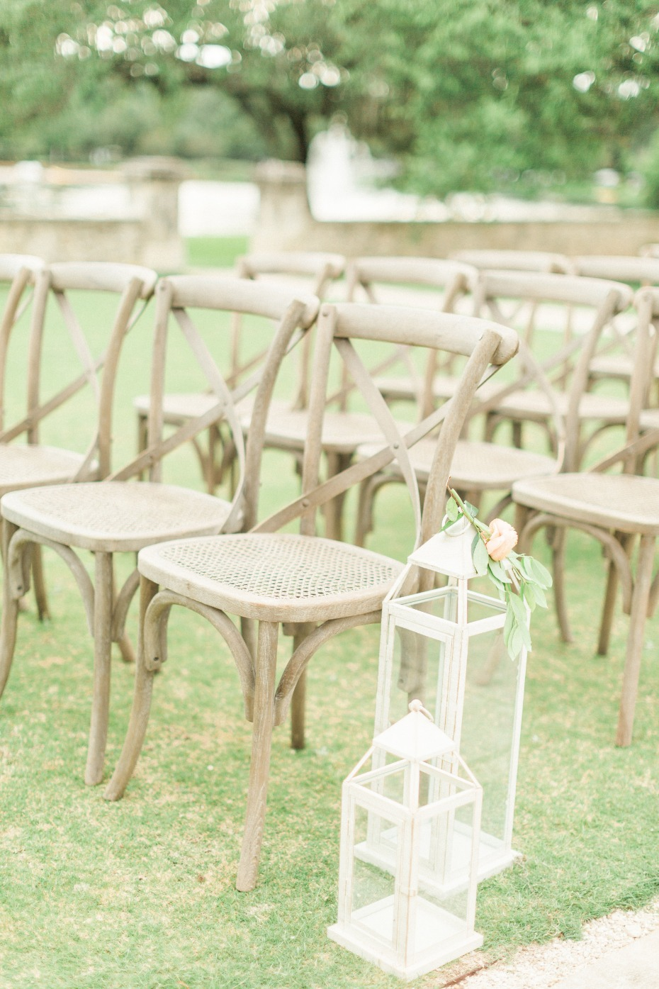white lantern wedding aisle decor