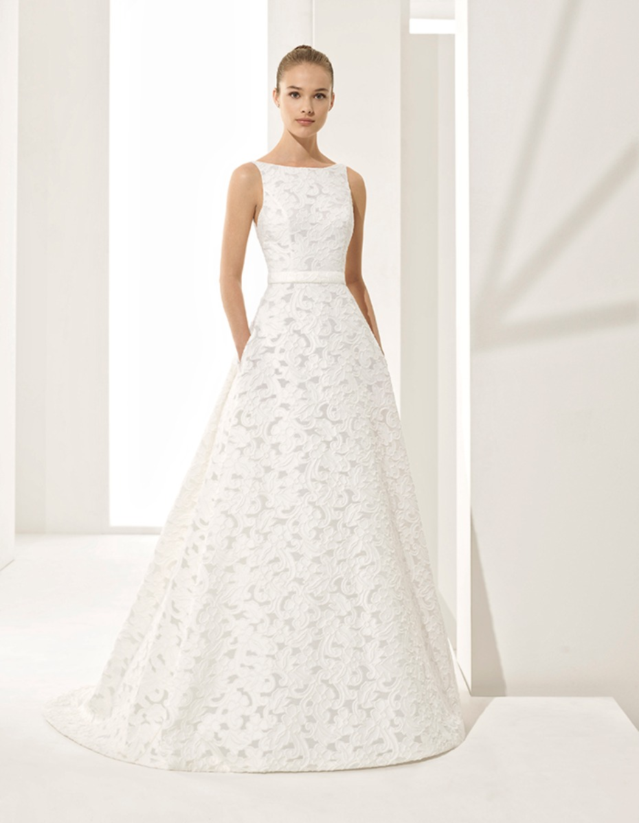 sleek a-line wedding dress