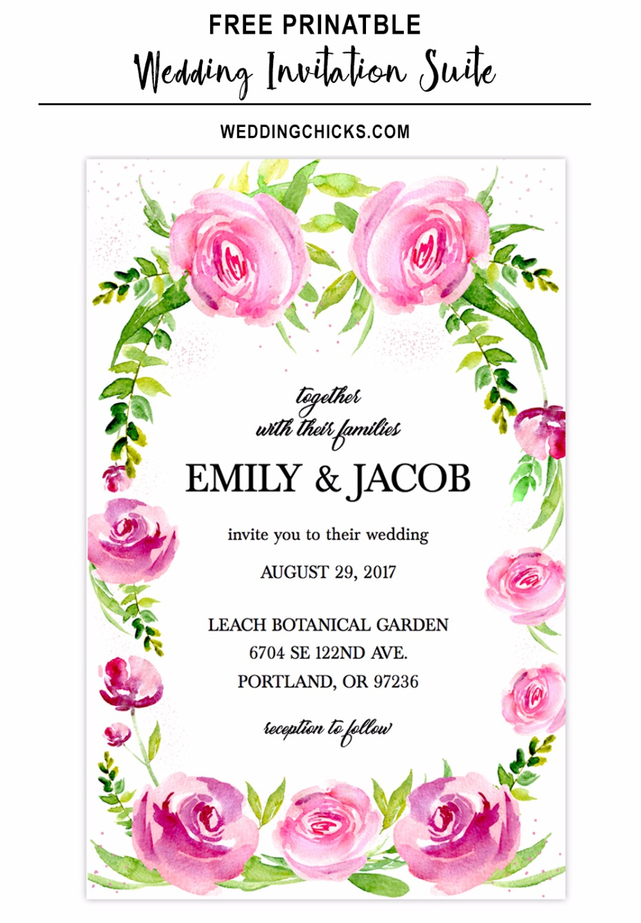 free watercolor rose wedding invitation