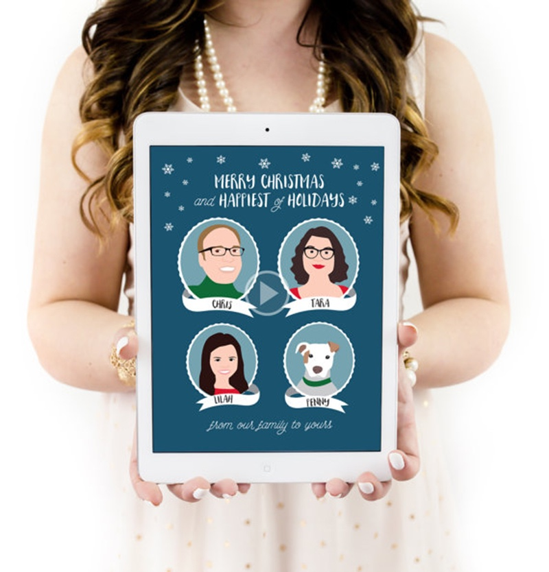 Miss Design Berry's funny holiday card features custom illustrated and animated portraits of your family, sent as a GIF/movie file