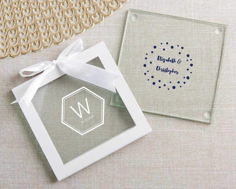 🍹 Glass Coasters in Modern Classic designs are wedding guest gifts that are sure to be a hit at your big celebration!