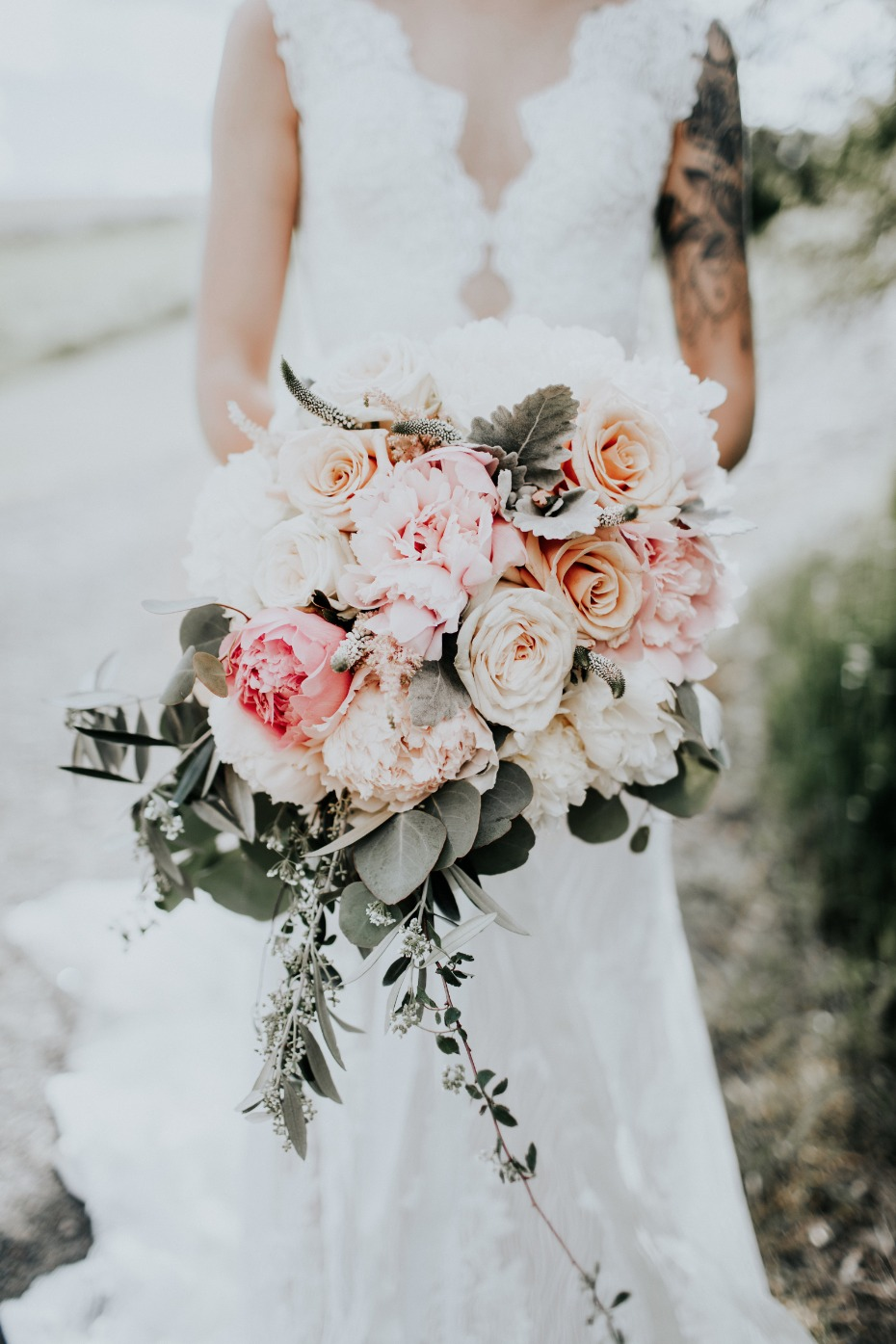 bridal bouquet in soft pink and blush