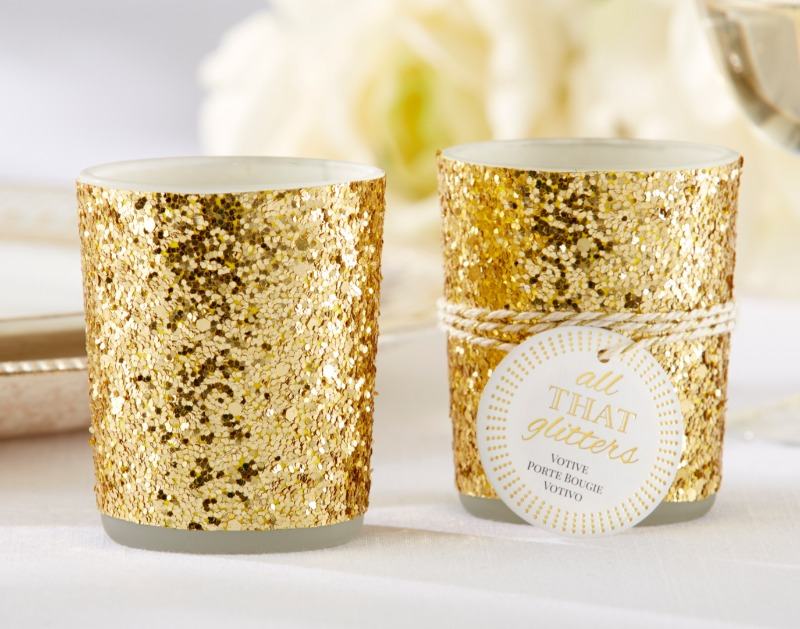 ✨ Your wedding reception tables will radiate pure, unabashed enchantment with these sparkling gold glitter votive candle holders