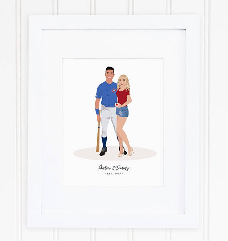 Miss Design Berry's illustrated couple portrait features a personalized illustration of the couple as well as any pets you wish to