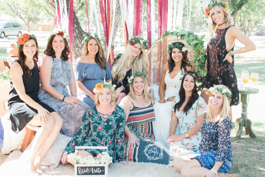 Lovely ladies at this boho bridal shower
