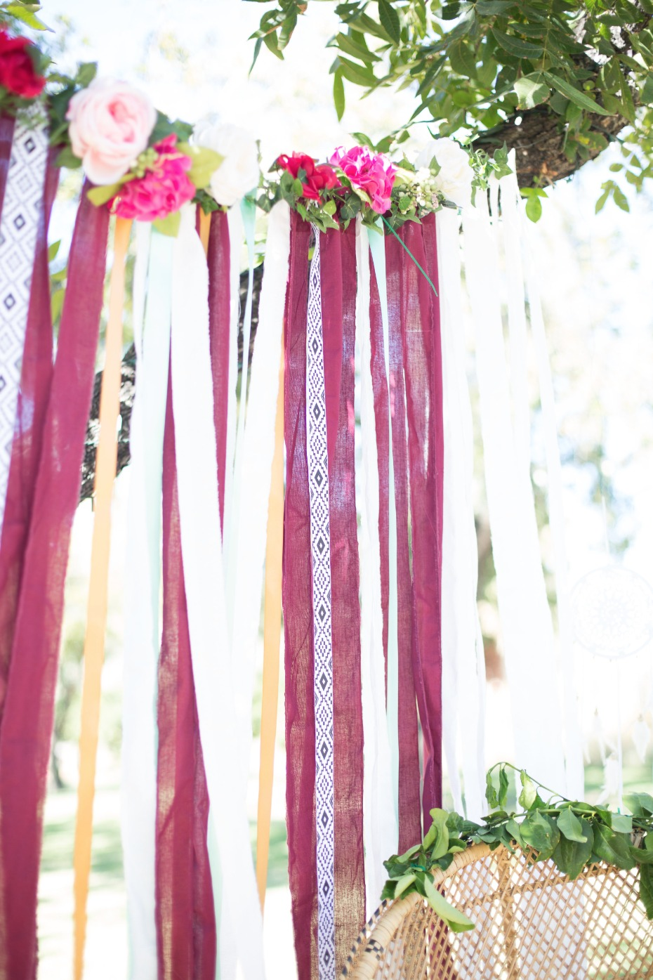 Floral & fabric backdrop