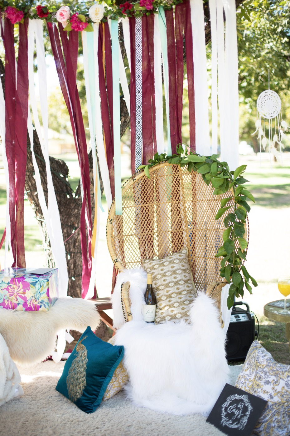 Boho bridal shower decor