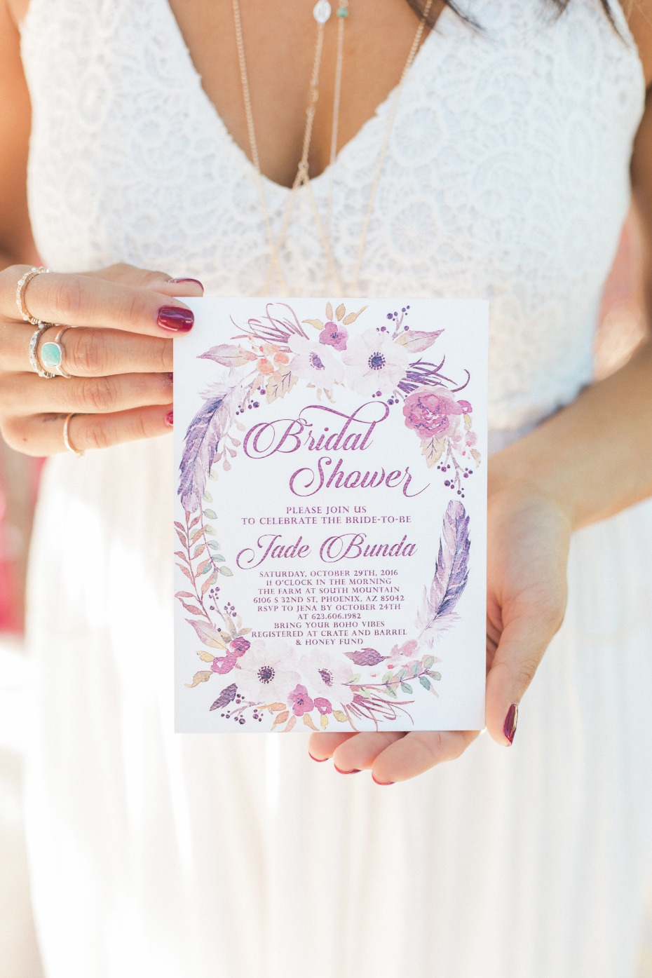 Boho bridal shower invite