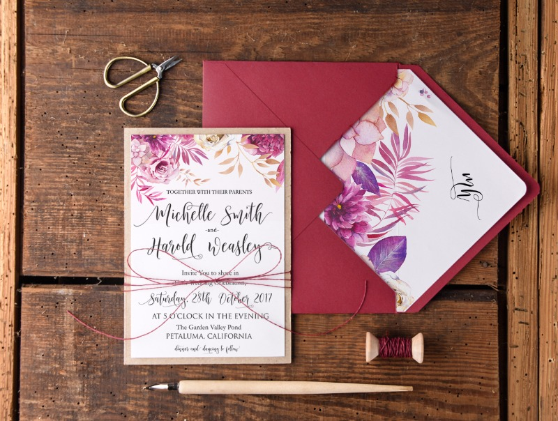 wedding invitations with #fall flowers