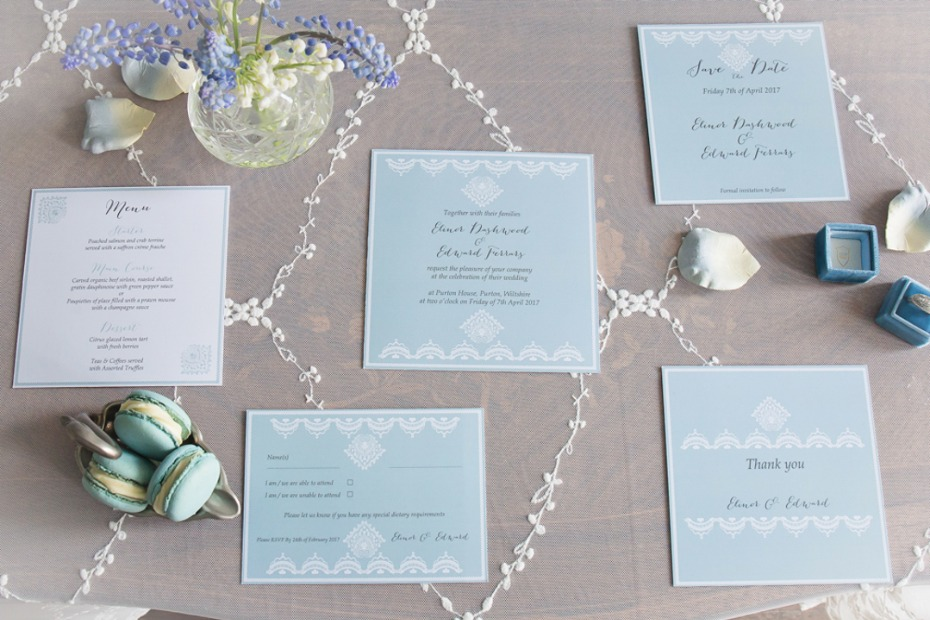 Regal blue invitation suite