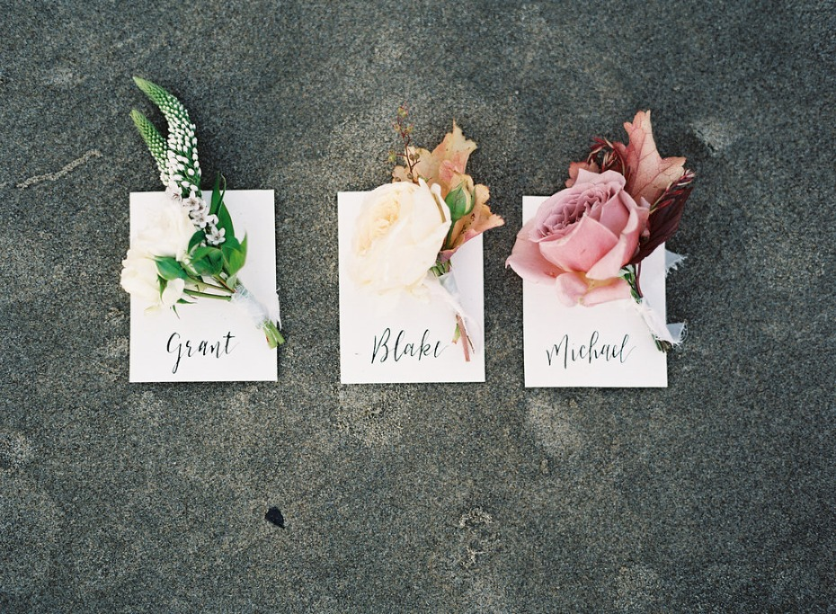 Beautiful mismatched boutonniers