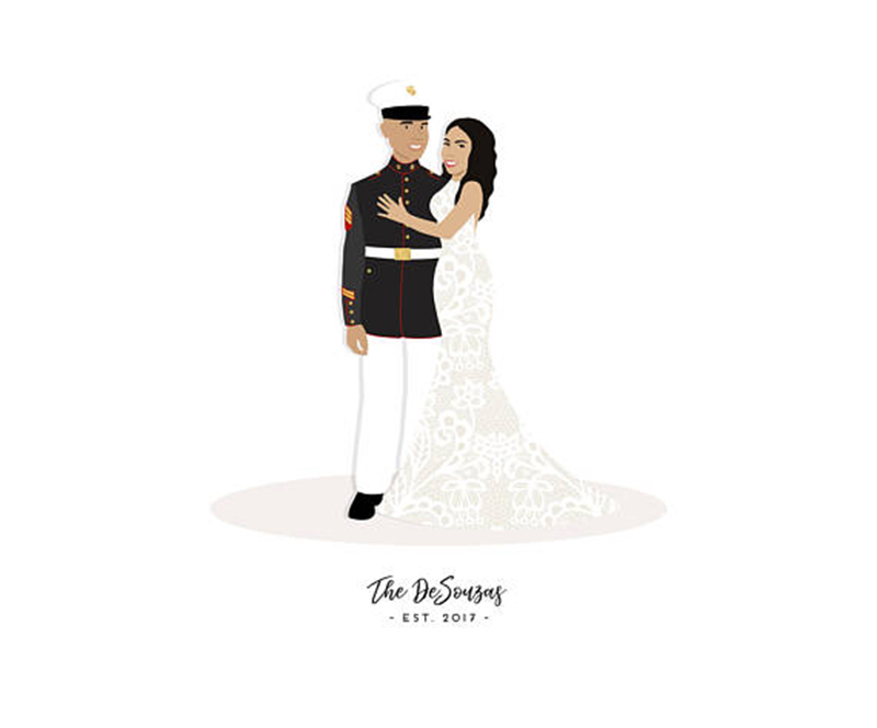Miss Design Berry's illustrated military couple portrait features a personalized illustration of the couple as well as any pets you