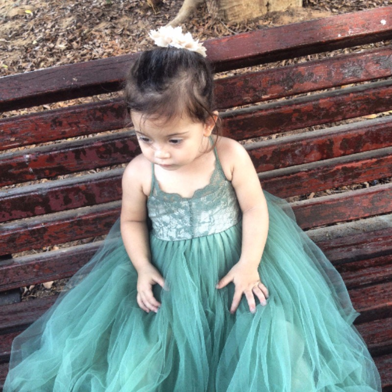Olive-Emerald Green Flower Girl Dress