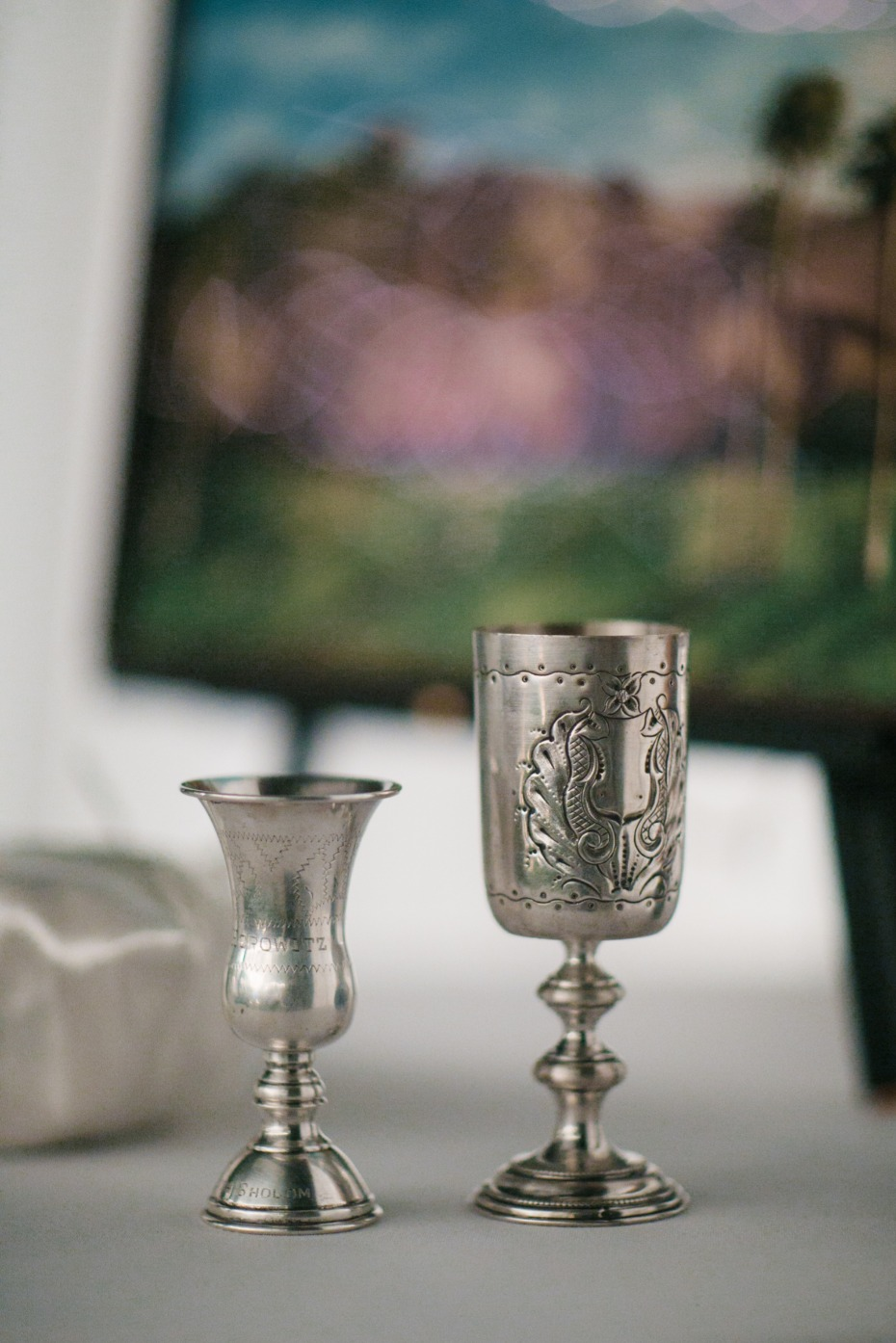 Silver cups for the bride and groom