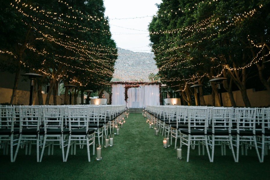 Twinkle lights for a nighttime ceremony