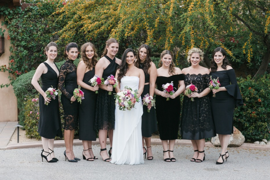 Love these mismatched tea length bridesmaid dresses
