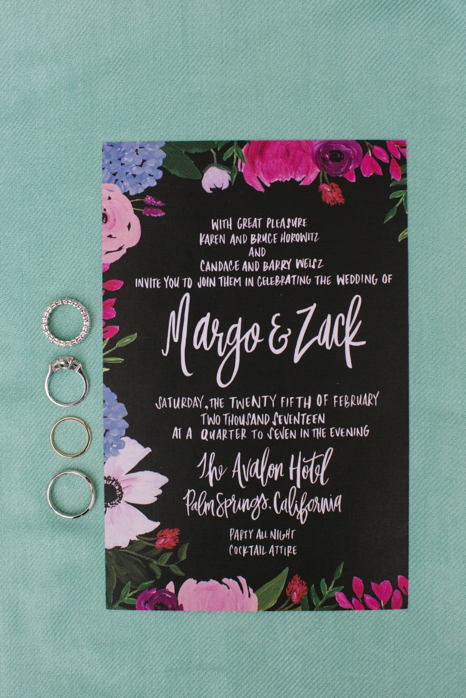 Jewel toned wedding invitation