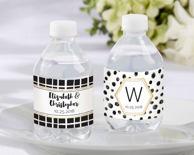 💧 Using personalized wedding stickers, the water bottle labels simply replace the old labels, and show your names or monogram and