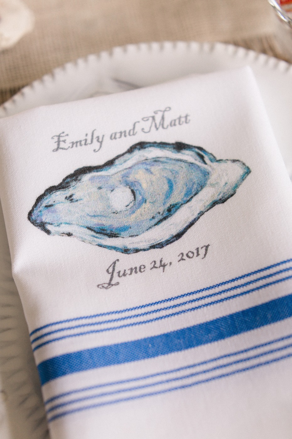 custom oyster themed table linens