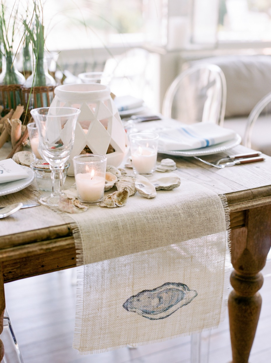 oyster table runner for your beachy table