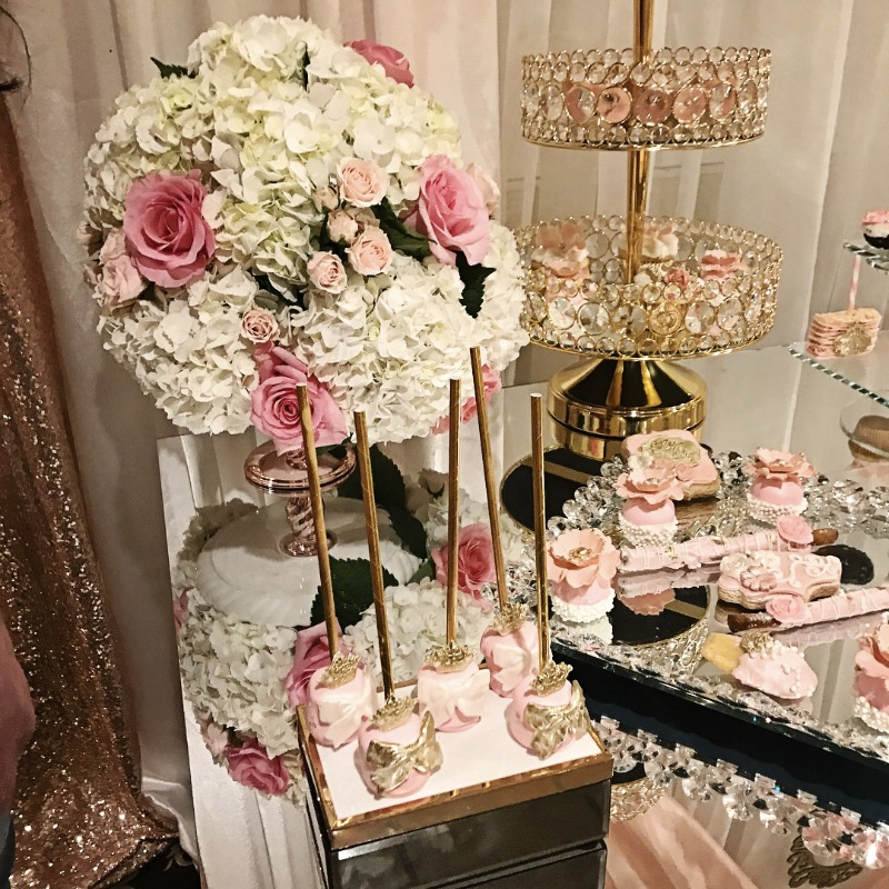 Pretty wedding dessert tables styled with Opulent Treasures Bling Serving Pieces