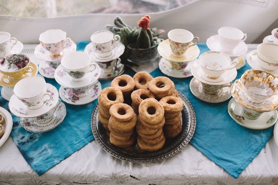 tea and donuts dessert table