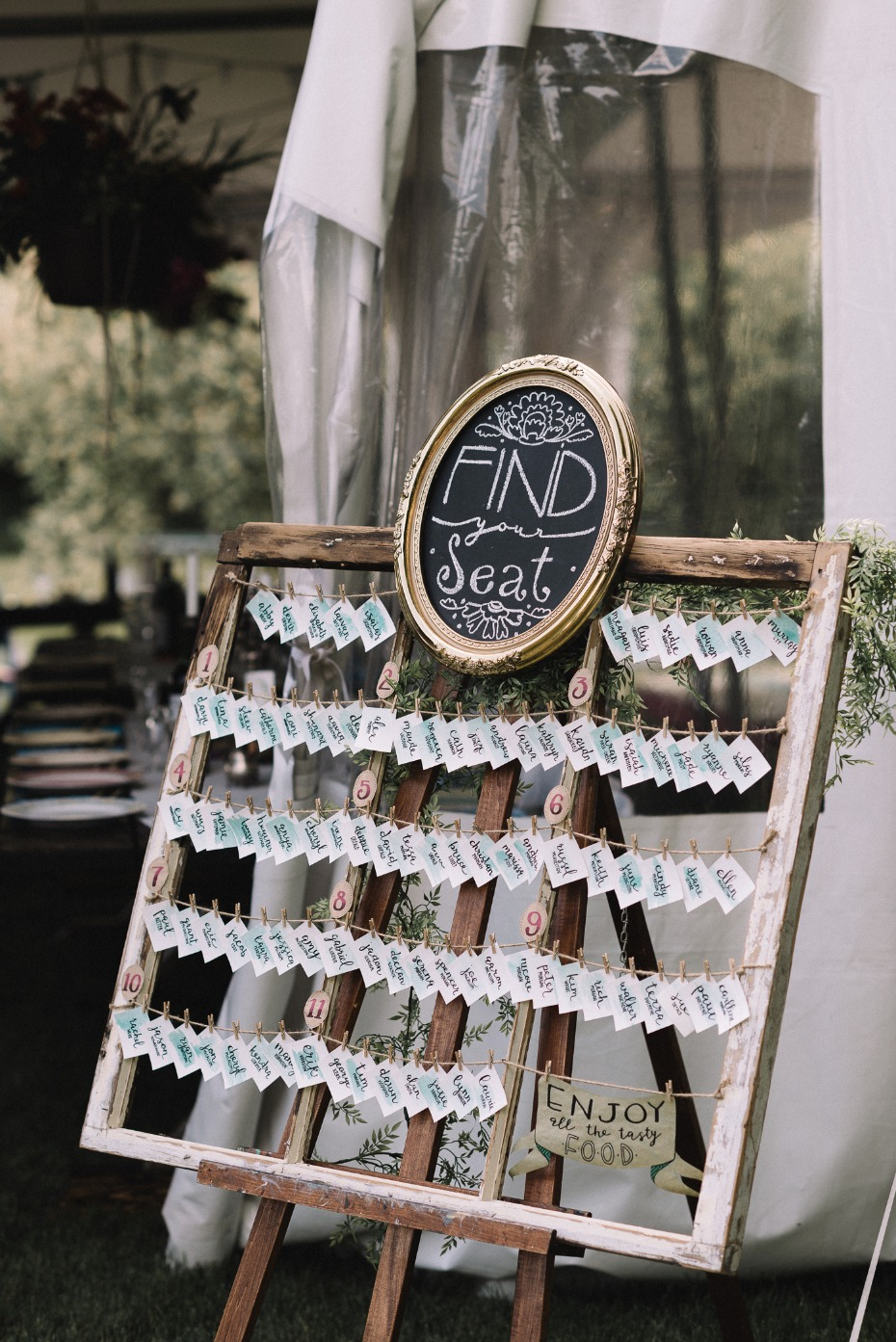 find your seat wedding escort card display