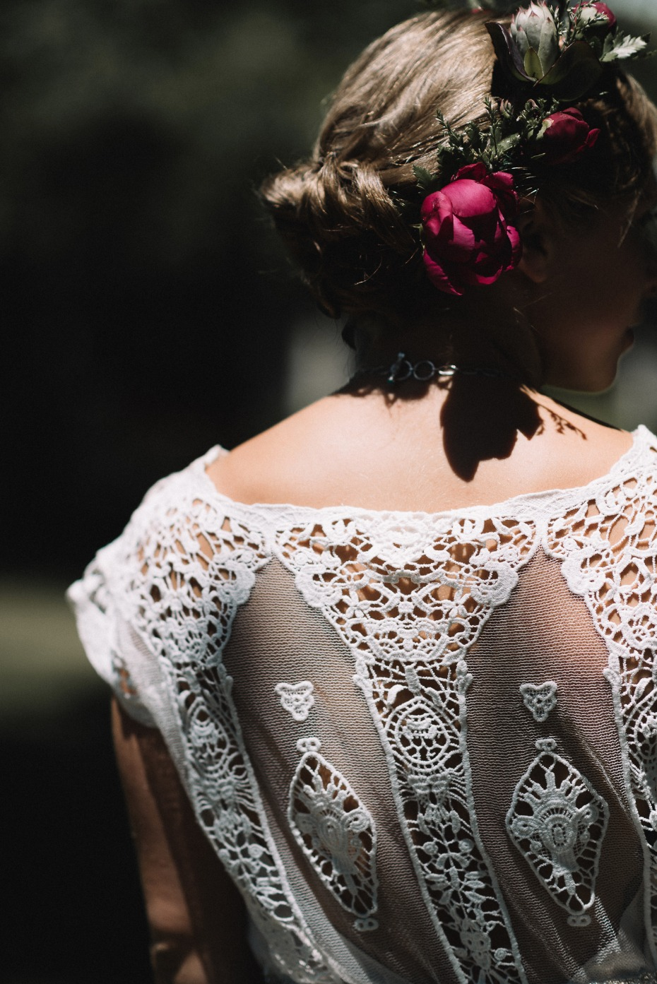 lace accented wedding dress and boho flower halo