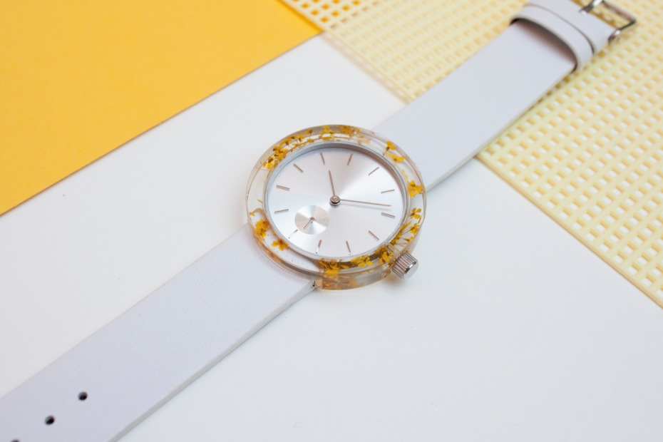 a watch with REAL flowers or moss