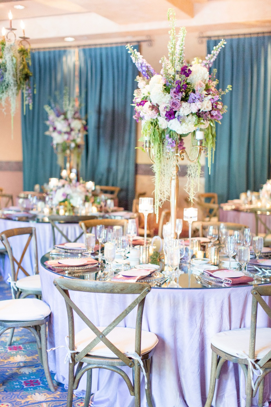gorgeous lavender and gold reception