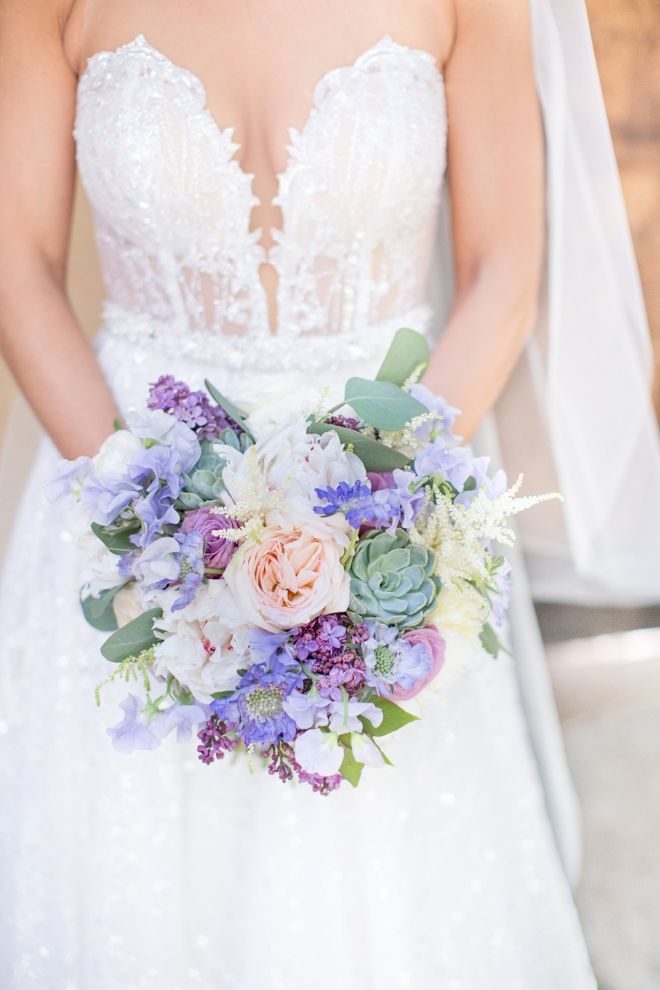 soft and elegant bouquet in blush, lavender and green