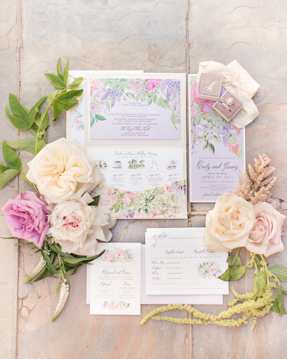 Floral filled invitation suite
