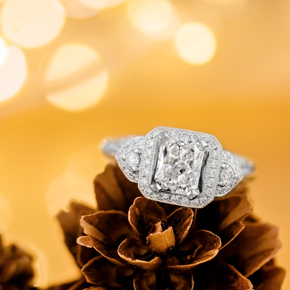 halo platinum engagement ring from @Shanecompany