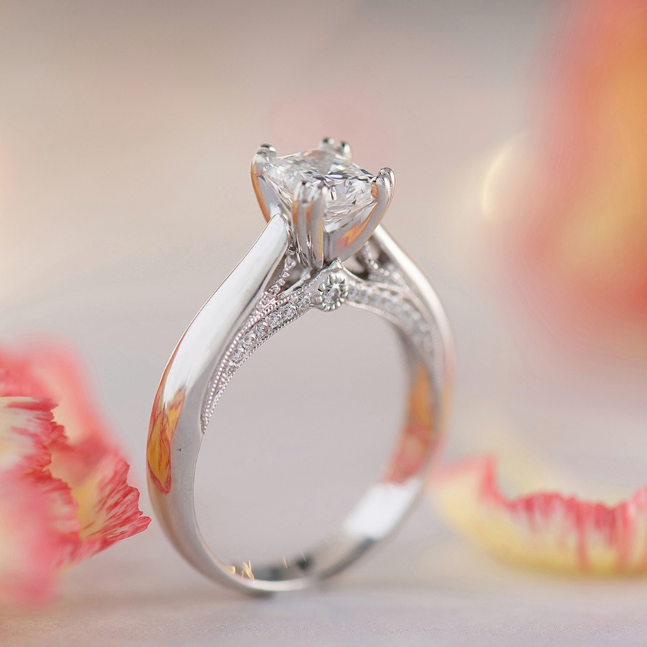 cathedral round diamond engagement ring from @shaneco