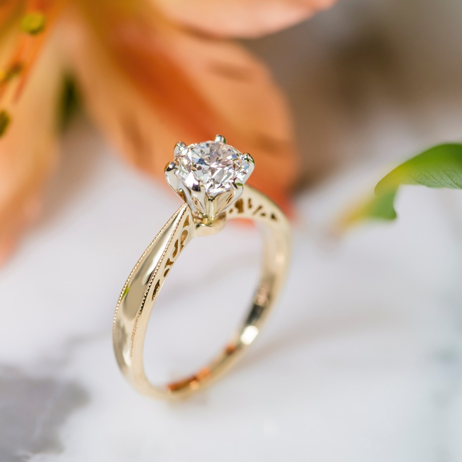 14k yellow gold engagement ring from @shanecompany