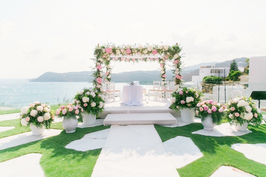 flower filled wedding backdrop