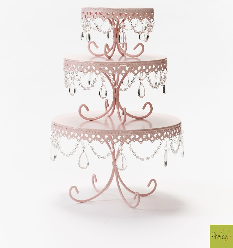 Pretty Pink Chandelier Cake Stands created by Opulent Treasures