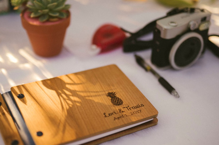Pineapple guestbook with wood cover
