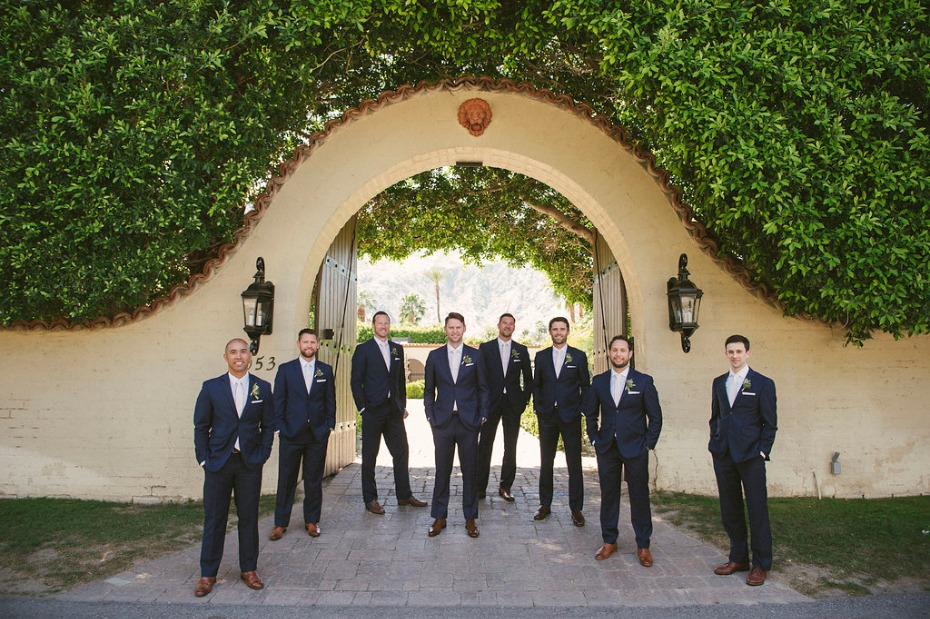 Navy suits and brown shoes for the groomsmen