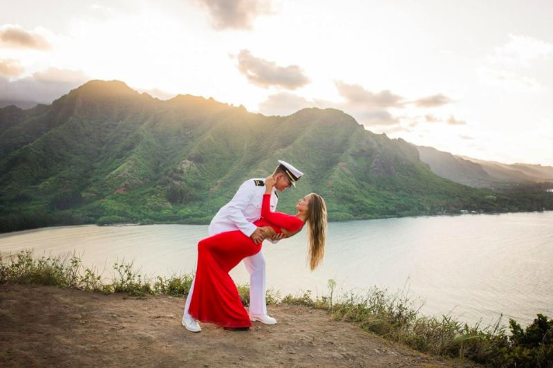 For this amazing engagement session, we hiked up Crouching Lion in Hawaii to capture their love on top of the world!