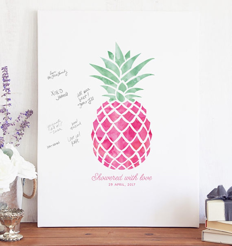 Miss Design Berry's pink pineapple baby shower guest book features a tropical pineapple and your baby's name and date.