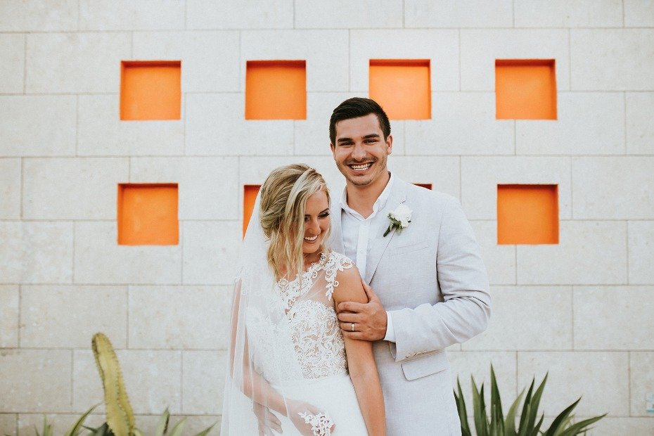 So happy in love at this beach wedding in Mexico