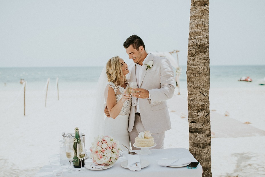 Cheers to love at this beach ceremony in Mexico