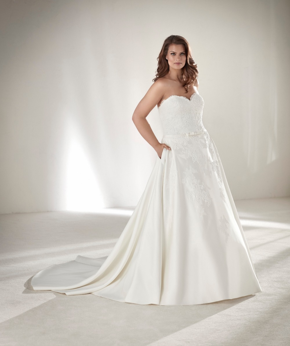 graceful strapless plus size wedding ball gown