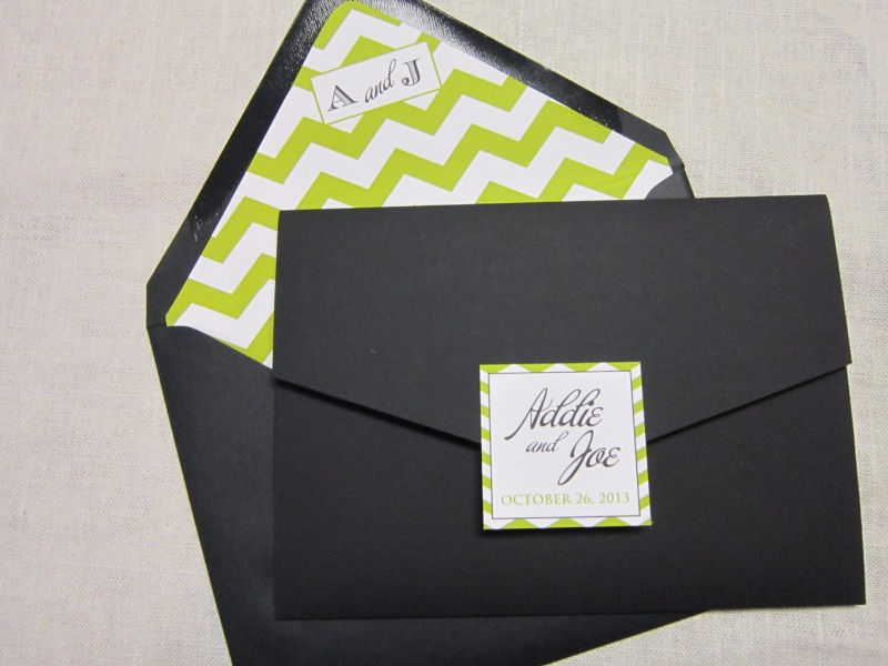 Crushing on this lime and white chevron striped custom envelope liner by Persnickety Invitation Studio.