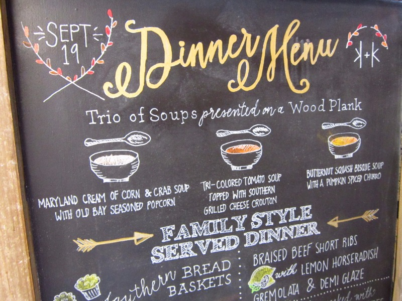 In love with this custom hand drawn chalkboard dinner menu. Soup, anyone?